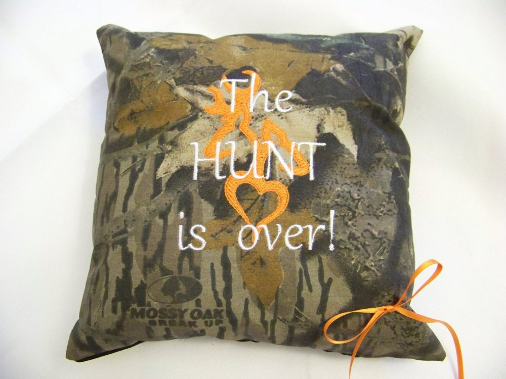 "Mossy Oak Ring Bearer Pillow ""The Hunt Is Over"" Wedding Or Home Decor"