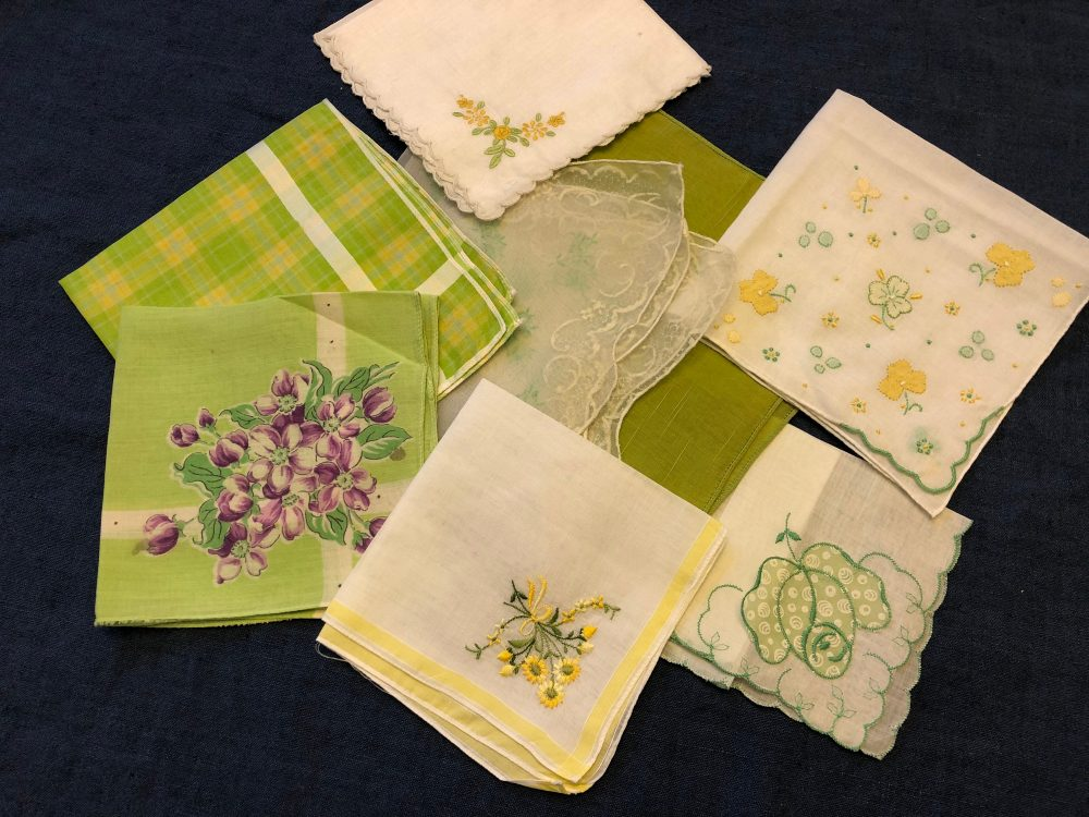 Chartreuse Wedding Bridesmaid Gifts, Vintage Handkerchiefs, Lime Green Apple Boho Bridesmaids Gift Bridal Party Happy Tears Maid Of Honor