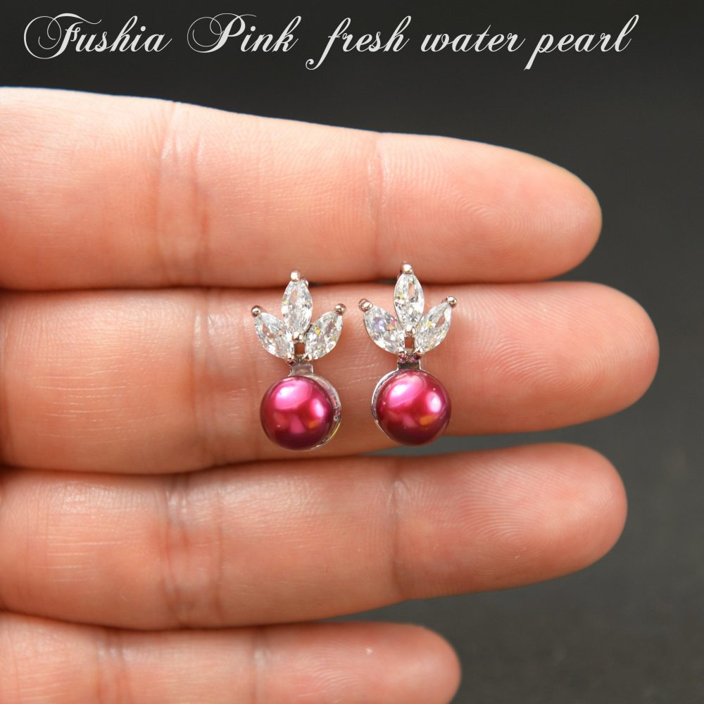 Fuchsia Pink Bridesmaid Gift Pearl Earrings Jewelry Set Bridal Personalized Wedding Mother Of Bride Se