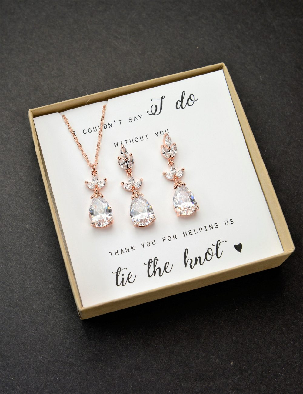Personalized Bridesmaid Gift Earrings Jewelry Set Bridal Wedding Mother Of Bride