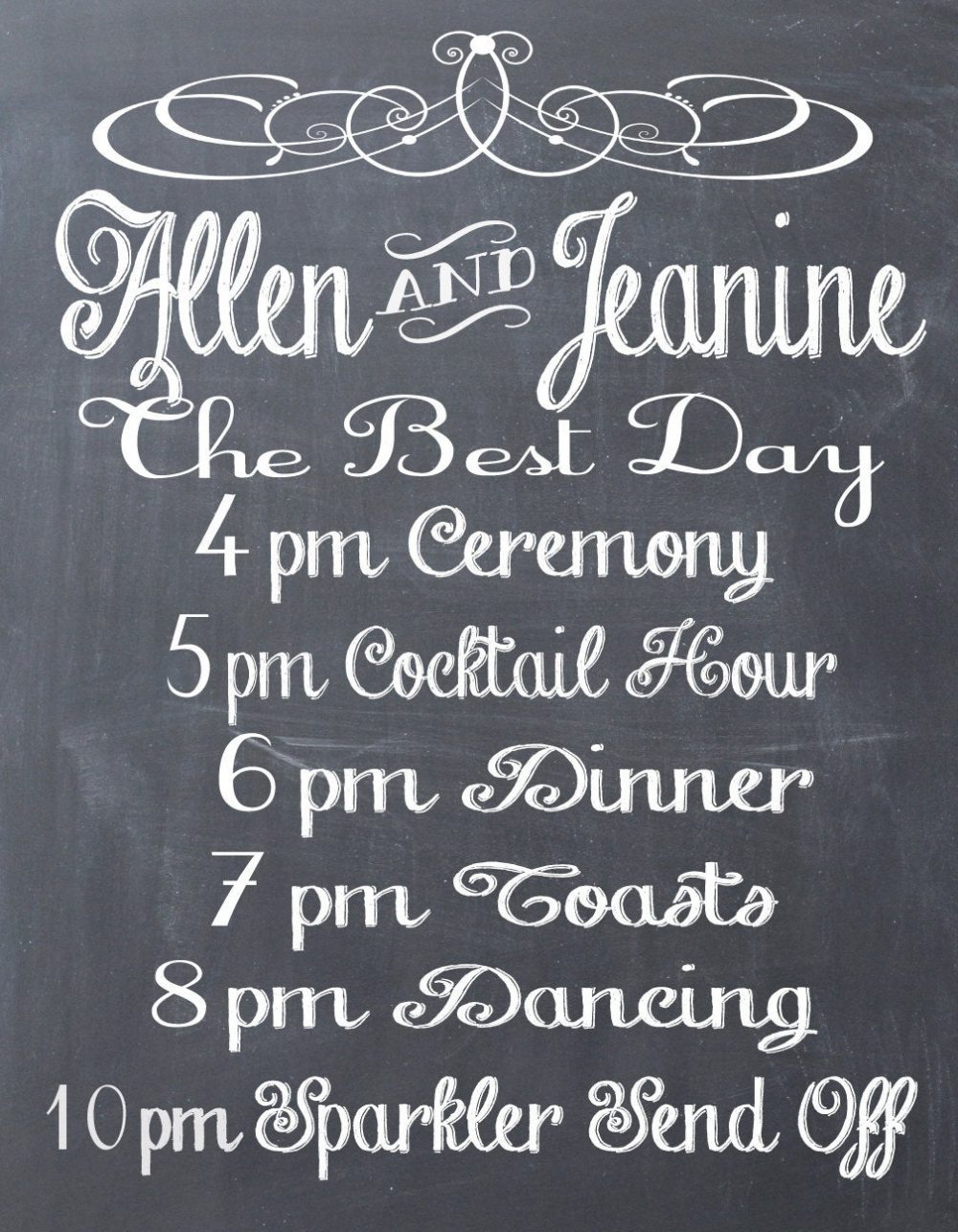 Wedding Program, Schedule, Rustic Wedding, Personalized Chalkboard Schedule Or Reception Sign - Pdf File
