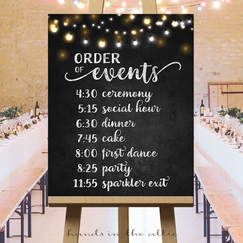 Order Of Events Timeline Sign Printable, Wedding Day Schedule The Day, Personalized List Ceremony Reception, Cocktail, Chalkboard Digital
