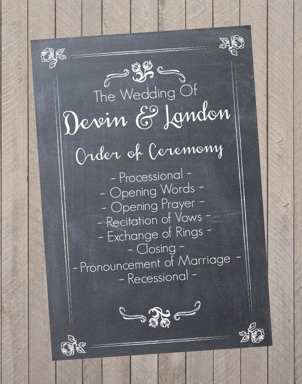 Wedding Program, Schedule, Reception Sign - Pdf File - Rustic Program Schedule Of Events