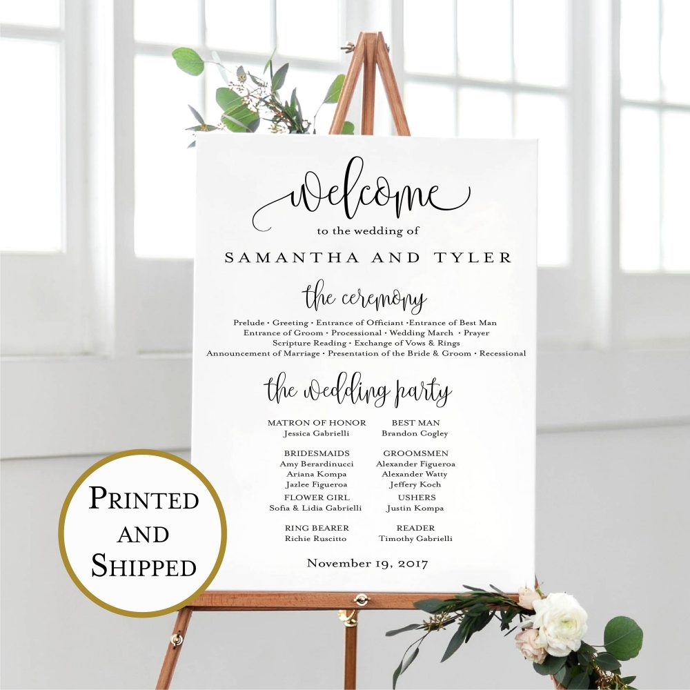 Printed Wedding Welcome & Program Print, Calligraphy Sign, Poster, Multiple Sizes