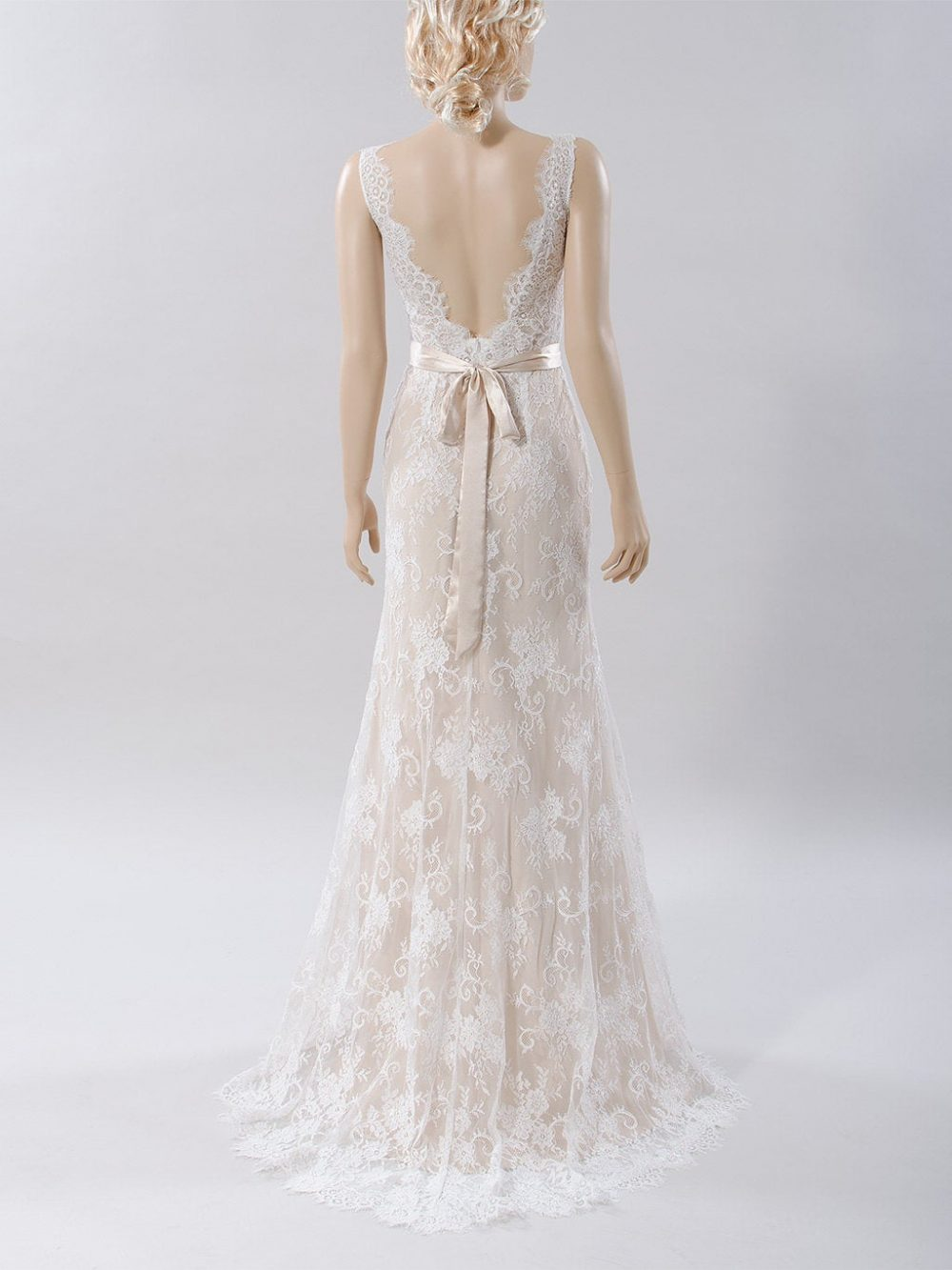 Lace Wedding Dress Nude Sleeveless Boho Bohemian Bridal Gown Fit & Flare