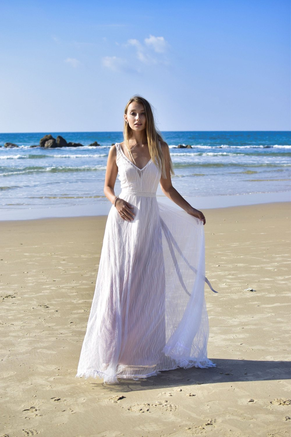 Lace Wedding Dress Chiffon Dresses Boho Bohemian Vintage Gown, Beach Casual Unique Bridal Hippie White Ivory Country Gowns