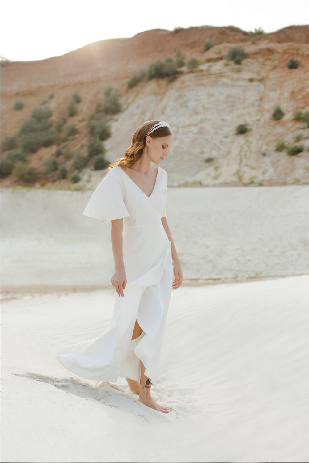 Beach Ivory Wedding Dress Modest Vintage Boho Bohemian Crepe Gown Simple