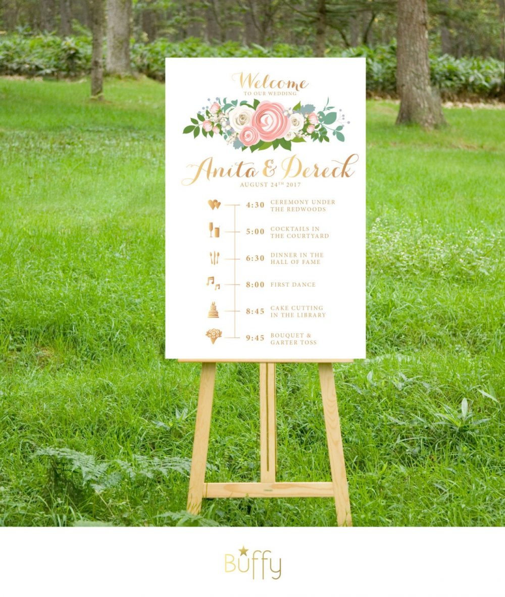The Jenny . Timeline Event Icons Sign Wedding Program. Print Or Pdf, Shipping Included. Rose Gold Quartz Copper Peonies Roses Blush Cream