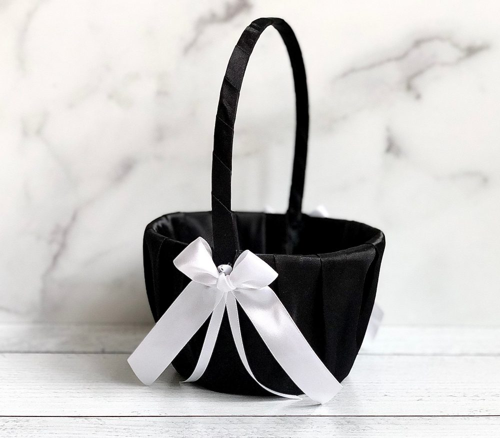 Black & White Flower Girl Basket, Wedding Flower Girl Baskets, Baskets Black, Gift, Basket