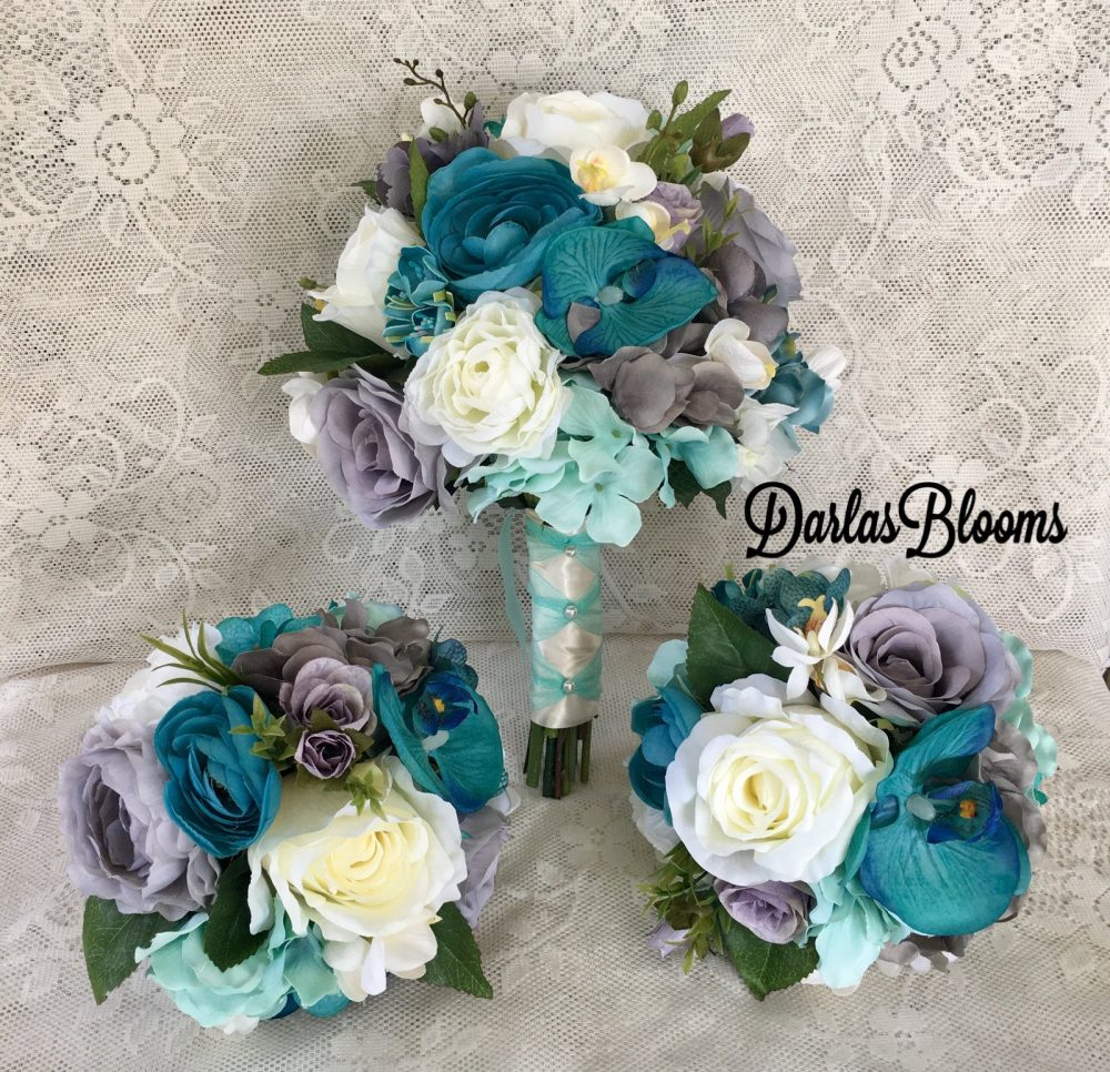 Wedding Bouquet, Turqouise Bouquet, Tropical Bridal Bouquet, Beach Wedding, Orchid Bouquet, Wedding Accessory, Teal Flowers