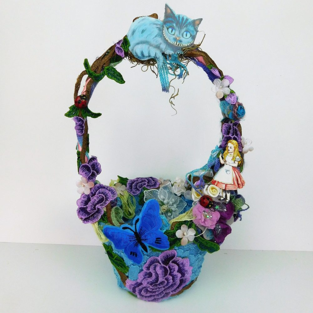 Wonderland Alice Inspired Wedding Flower Girl Basket ~Blue & Purple Flowers ~Whimsical Girls Accessories-Proposal Gift