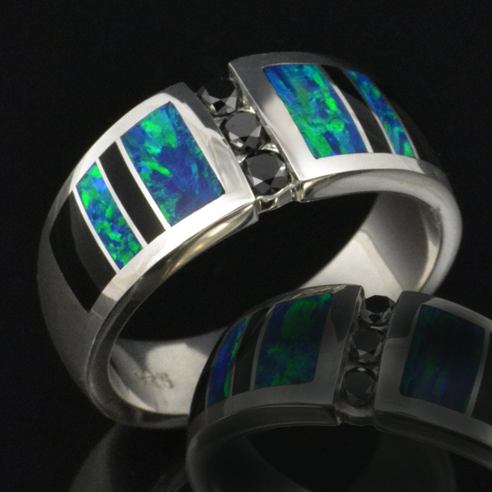 Men's Lab Created Opal Wedding Ring With Black Diamonds & Onyx Accents
