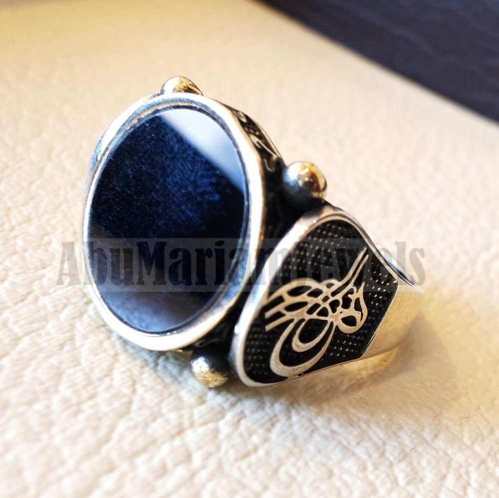 Ottoman Style Heavy Sterling Silver 925 Men Ring Natural Onyx Round Stone All Sizes Bronze Frame Middle Eastern Traditional Jewelry