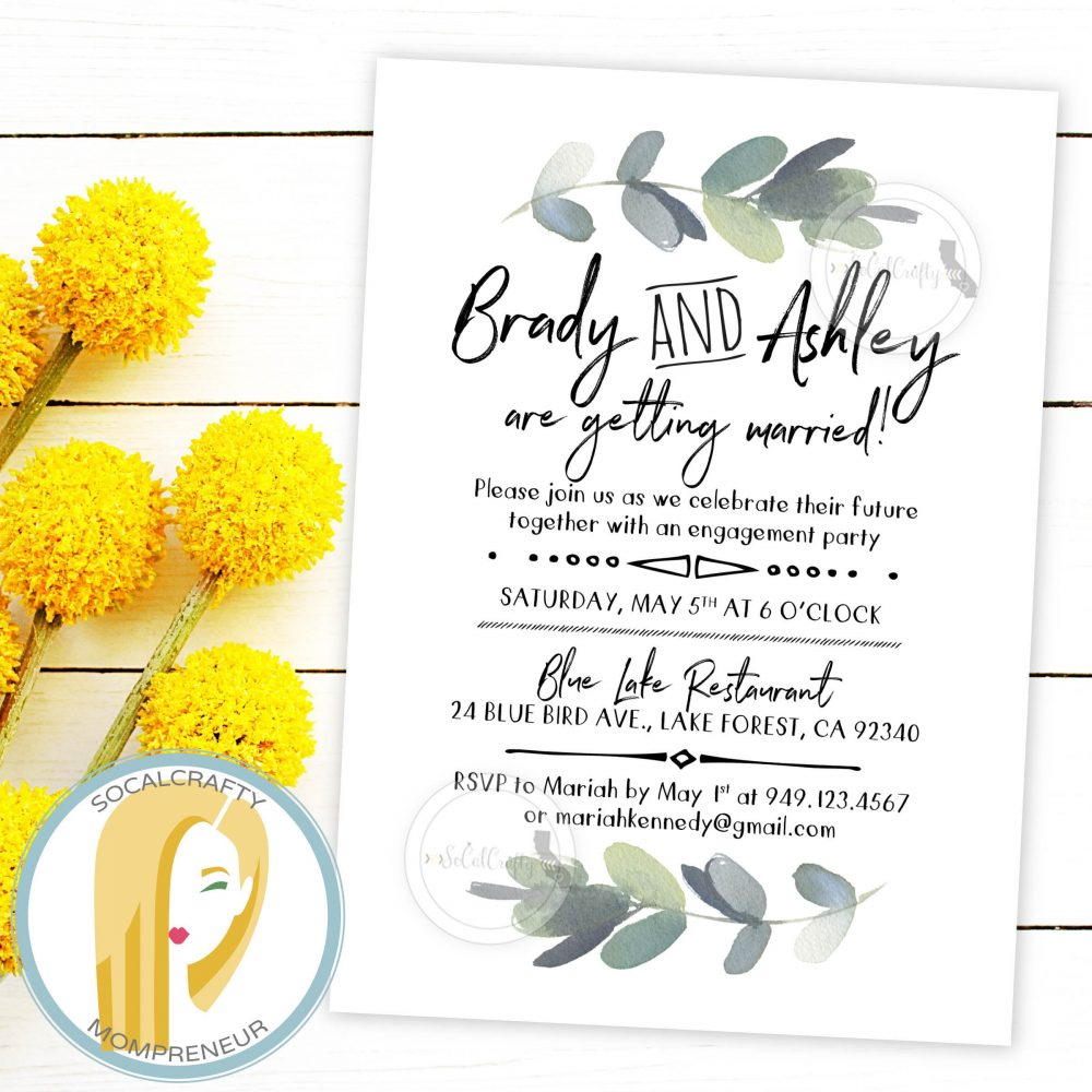 Eucalyptus Engagement Party Invitation, Bohemian Invite, Boho, Watercolor, Bridal Shower, Greenery, Diy, Printed Or Printable Invitations