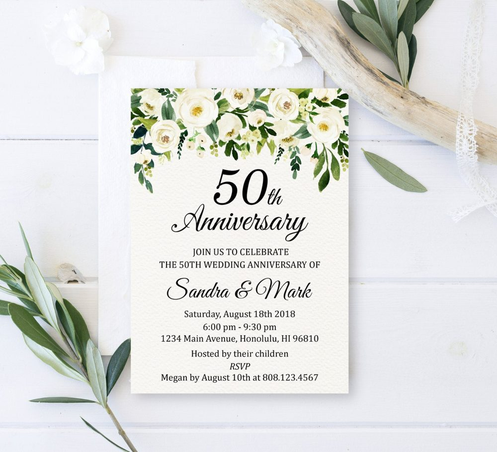 Any Year Greenery Anniversary Invitation Wedding White Floral Custom Printable Invite Digital File W2