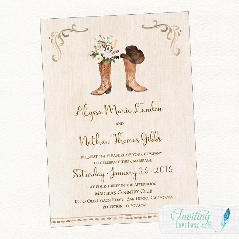 Cowboy Boot Wedding Invitation | Rustic Wedding, Country Western Watercolor Printable Invitation, Digital File