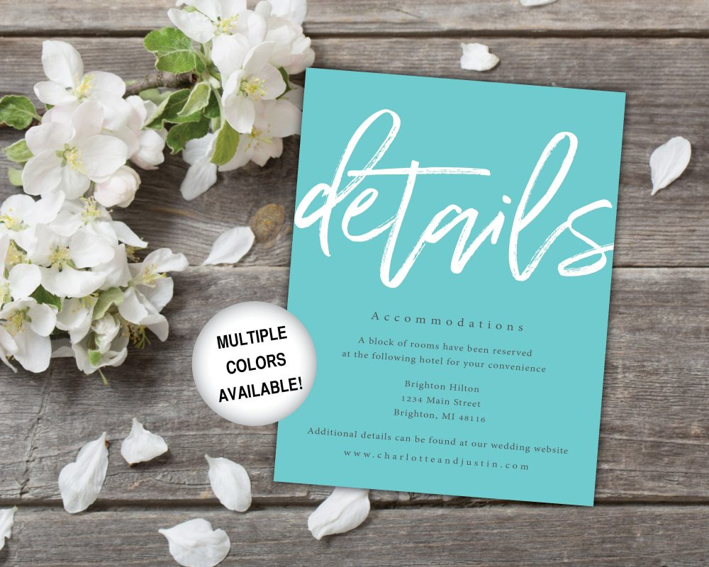 Teal Wedding Details Insert Card Printable | Invitation Blue Turquoise Template