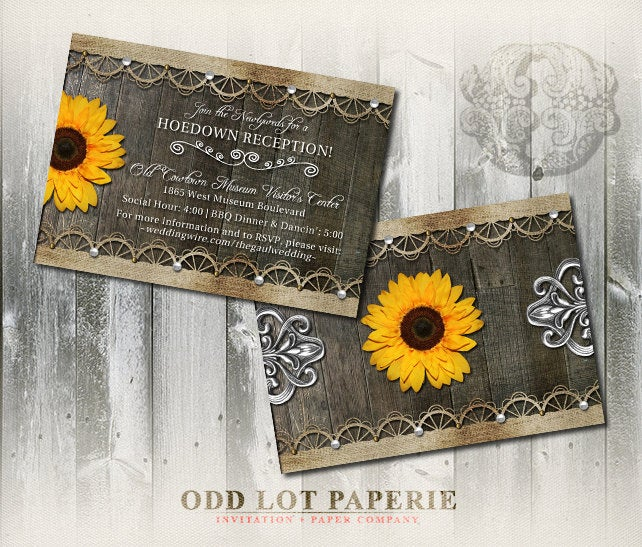 Rustic Sunflower Wedding Reception Card - Printable Invitation Invitation| Country