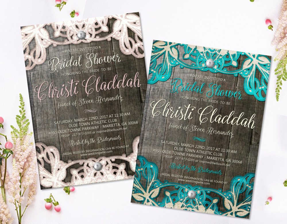 Lace Bridal Shower Invitation Rustic Invites Wedding Ideas Wood & Printable Invite Diy