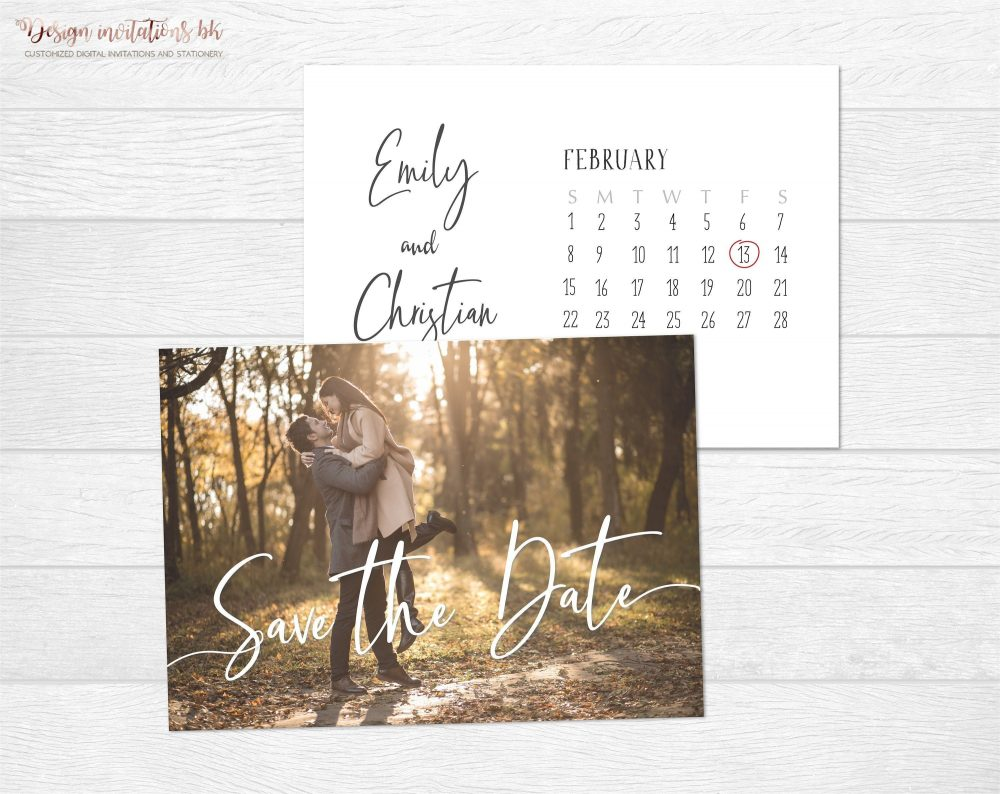 Save The Date Invitation Template Wedding Date Photo Calendar Printable Invite Save Our Invitation Sd02