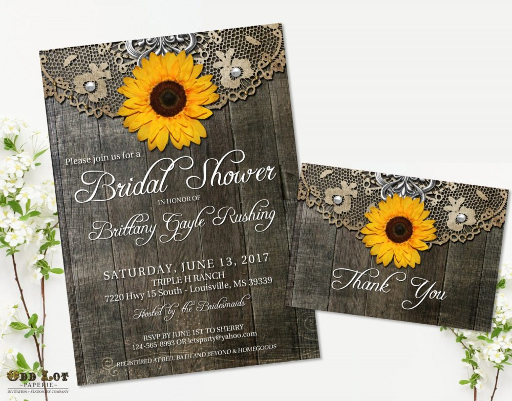 Sunflower Bridal Shower Invitation Set Rustic Invite Country Wedding Barn Wood Lace Printable Invite