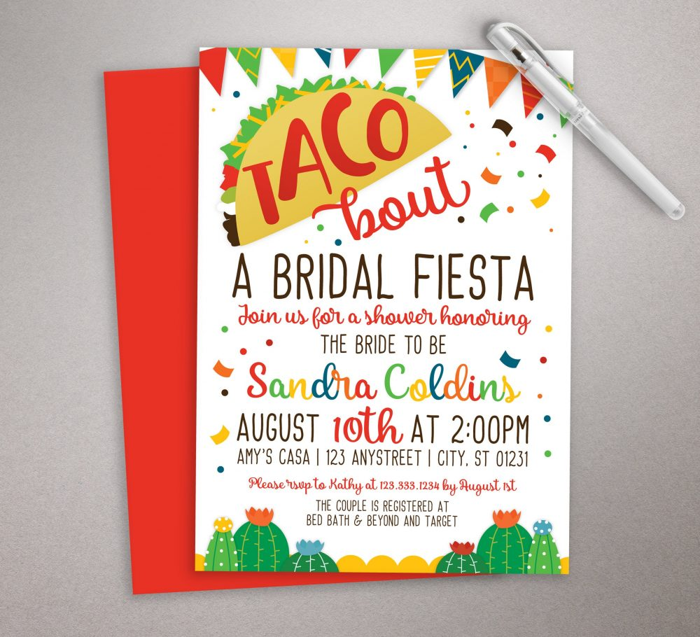 Fiesta Bridal Invitation, Taco Shower, Mexican Wedding, Bout A Fiesta, Printable Invitation, Cactus