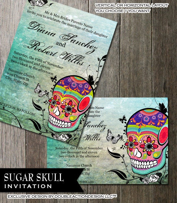Muerte Sugar Skull Day Of The Dead Dia De Los Muertos Digital Printable Wedding Invitation Diy Templates Calaveras Offbeat Invite