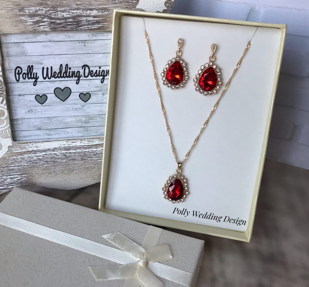 Red Bridal Jewelry Set, Gold Pendant, Wedding Necklace, Wedding Earrings, Bridal Necklace, Jewelry, Swarovski Stones, Necklace & Earrings
