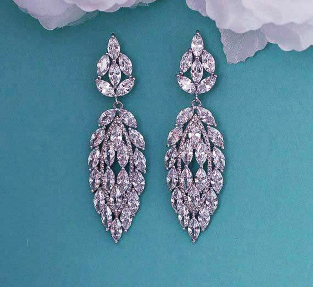 Bridal Wedding Earrings Cz Crystal Brides Dangle Gatsby 1920 Weddings Vintage Cubic Zirconia Bride Jewelry Prom Party Gift Accessory 005