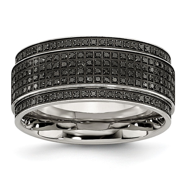 Chisel Black Stainless Steel Diamond Men's Band Ring