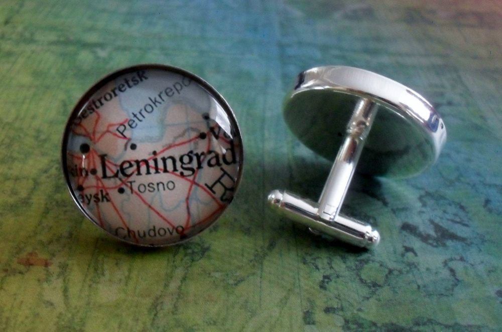 Leningrad Russia Map Silver Cuff Links // Father's Day Groomsmen Gift Cufflinks Unique Gift For Him Boxed