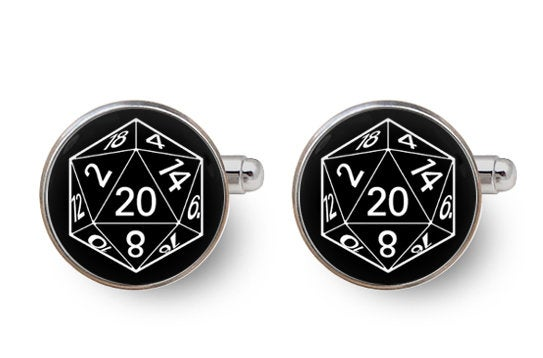 D20 Cufflinks, Dungeon Master, D & D, Polyhedral Dice, Dice, Geek Groom, Dungeon Master Cufflinks, Dnd Cufflinks, Gamer, Rpg, Game -With Gift Box