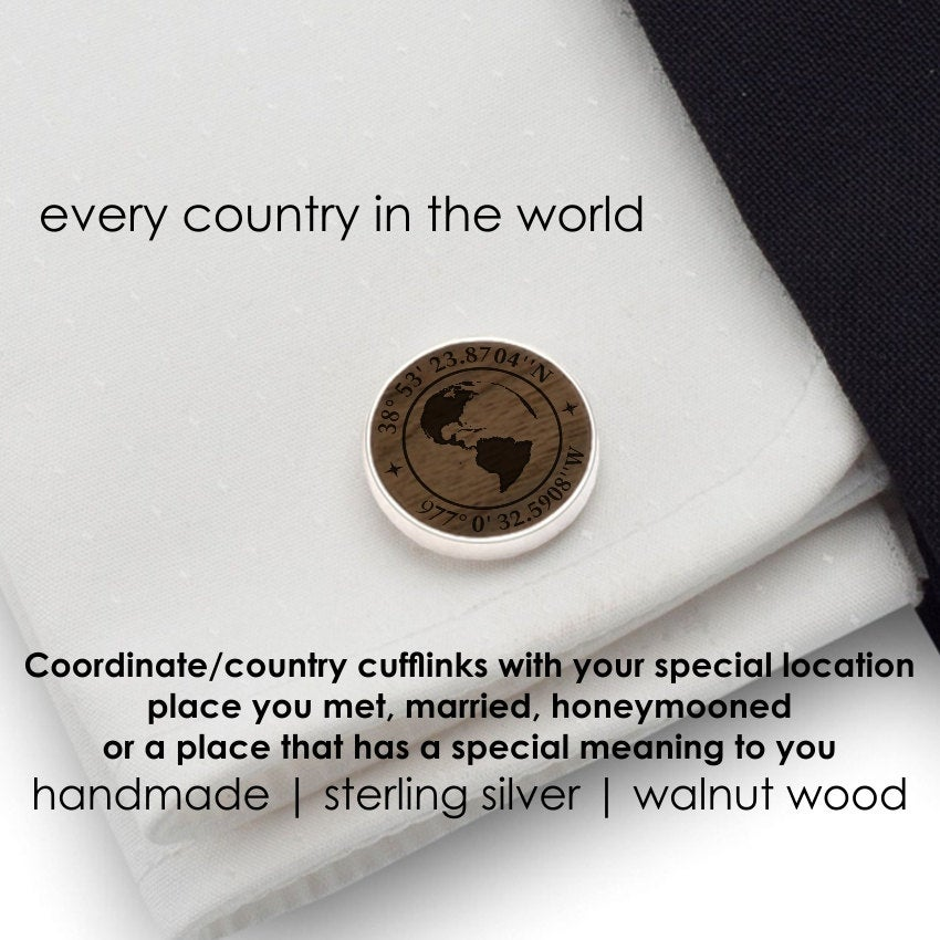 Coordinates Cufflinks, World Map Wood Custom Personalized Gift For Him
