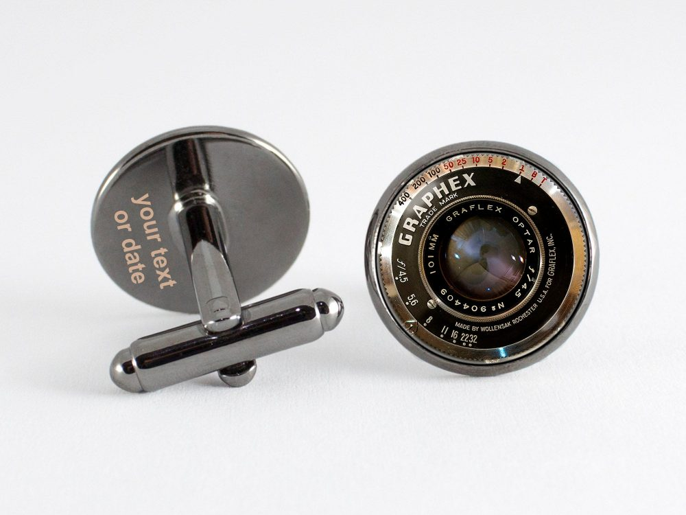 Custom Camera Lens Cufflinks Unique Gift Personalized Jewelry Gift For Photographer Camera Cuff Links Engraving Vintage Engraved