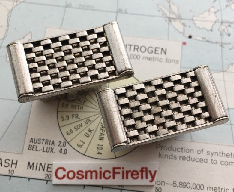 Vintage Modernist Cufflinks 1950's Anson Mid Century Modern Jet Age Abstract Industrial Steampunk
