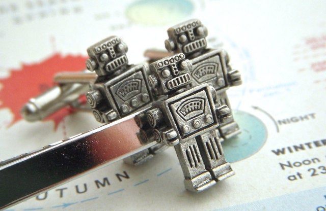 Robot Cufflinks & Tie Bar Men's Set 3 Silver Plated Gifts Steampunk By Cosmic Firefly