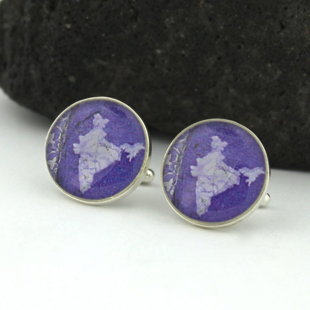 Indian Silver Men's Cufflinks. Unique Cufflinks For Men Handmade From Map Stamps. Custom Corporate Gifts Or Wedding