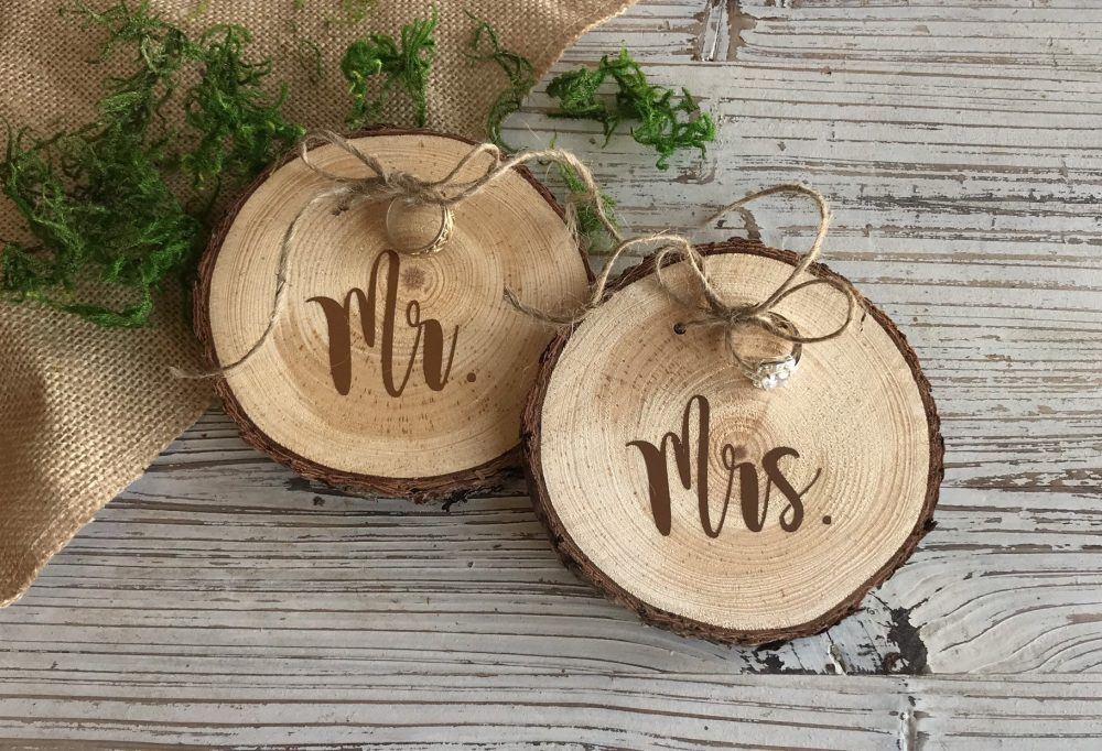 Wood Slice Wedding Ring Holder, Hand Crafted Wooden Rustic Mr. & Mrs. Holders