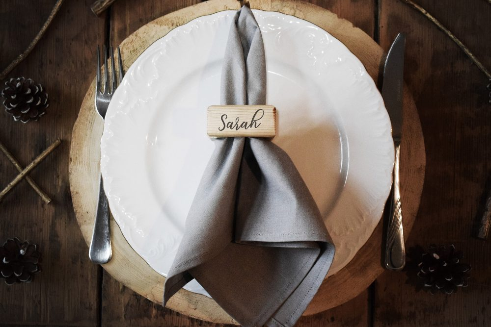 45 Engraved Wooden Napkin Rings, Holder, Rustic Personalized Ring, Reclaimed Wood Wedding Favors