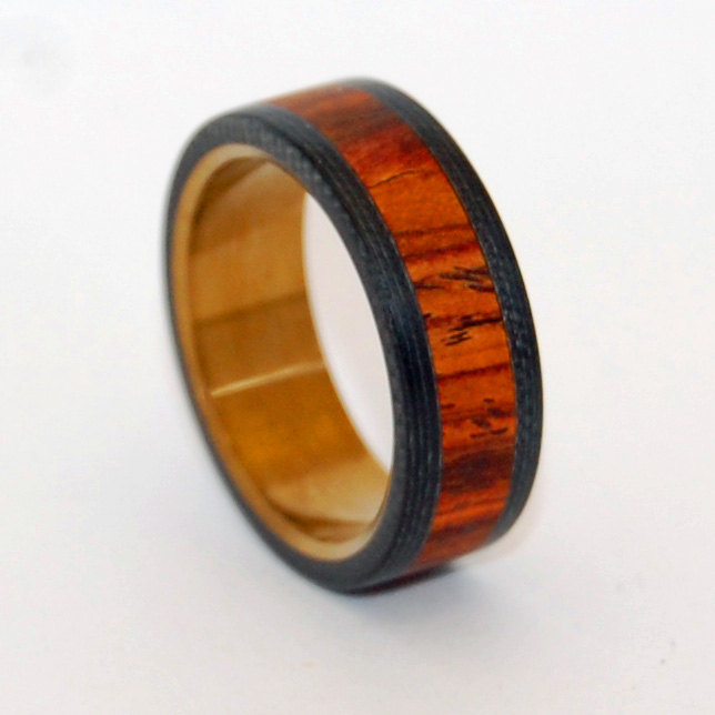 Black Rings, Wooden Ring, Titanium Wedding Ring, Cocobolo, Band, Carbon Fiber, Mens Bronze, Ring - Because He Can