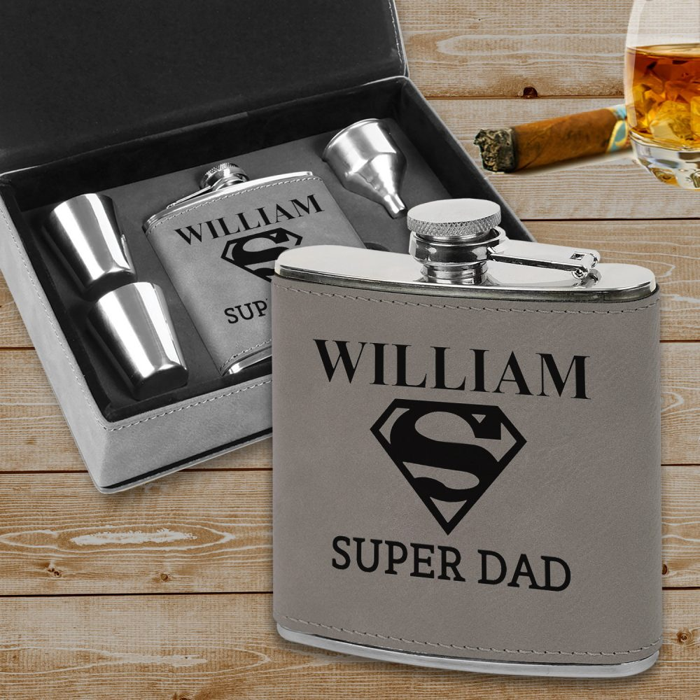 Custom Super Dad Flask Father's Day Gift, Leatherette Gift Set, For Dad, Man Cave Gift, Fun Gifts Dad, Father