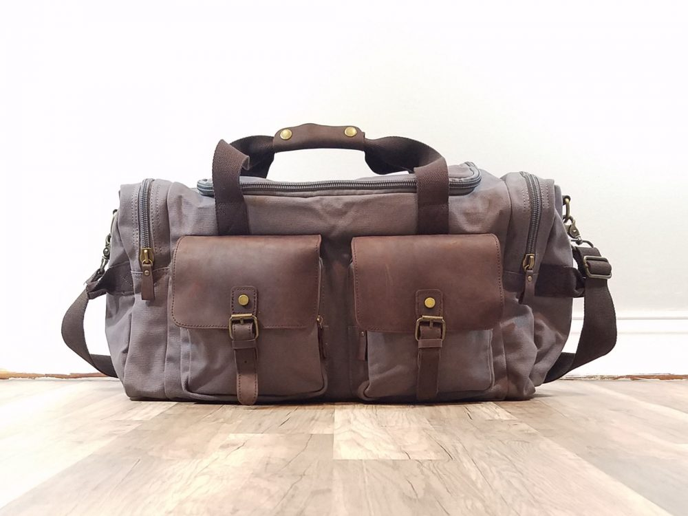 Men's Canvas Duffel Bag, Leather Duffle, Weekender Bag, Gift For Best Man, Groomsmen Gift, Dad Father Gifts, Anniversary Gift