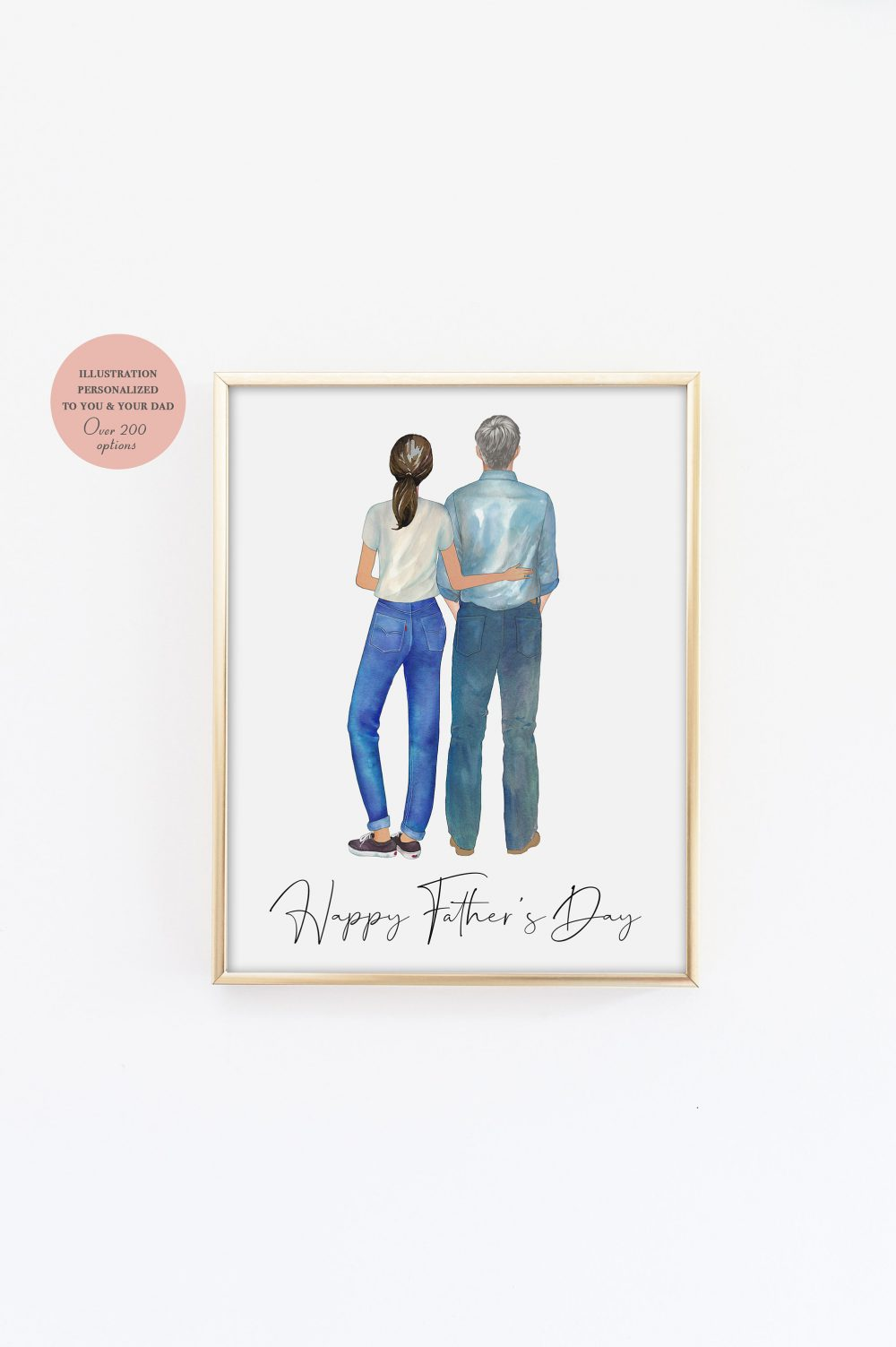 Father's Day Illustration, Fathers's Print, Gift, Dad Father Daughter Illustration