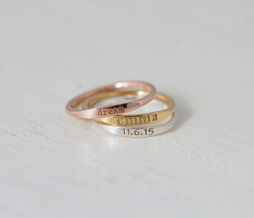 Dainty Engraved Name Ring - Stackable Rings Personalized Thin Band Mother Gift Bridesmaid Christmas Gift