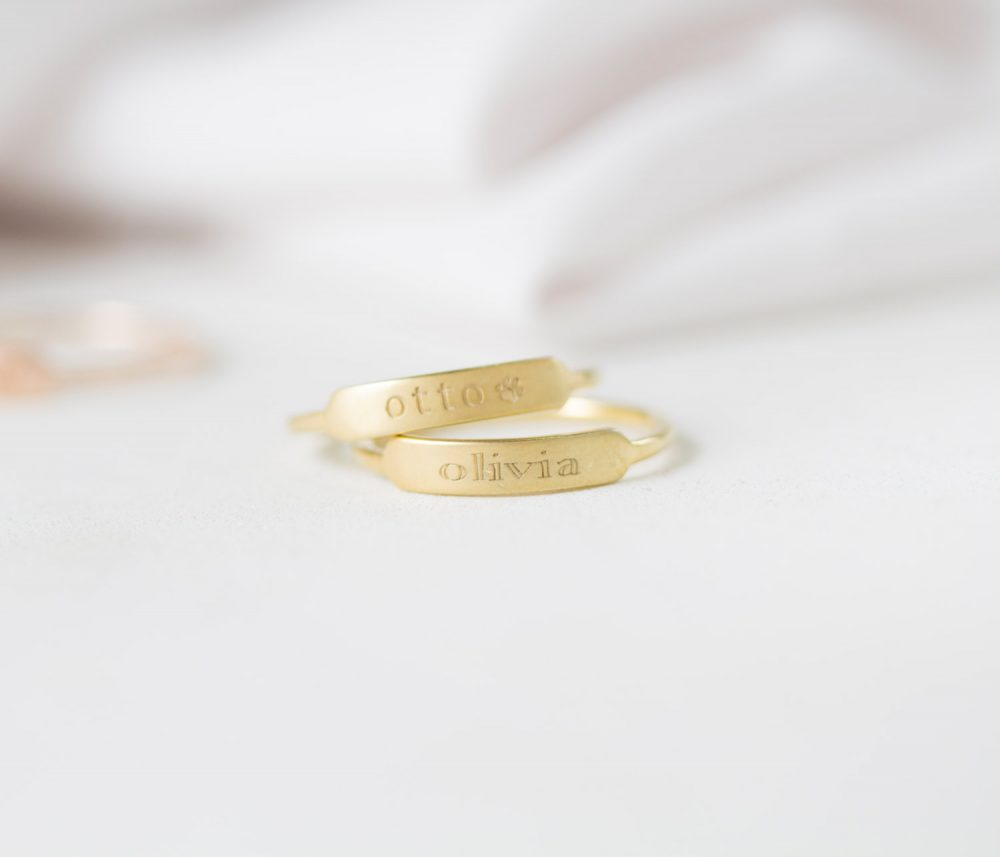 Dainty Bar Ring - Custom Name Rings Stackable Personalized Thin Band Mother Gift