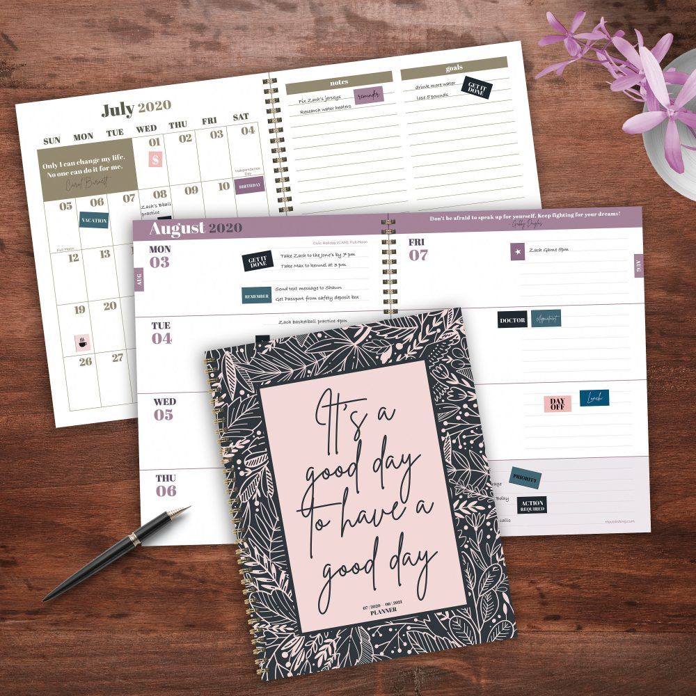 July 2020-June 2021 Good Day Inspirational Large Daily Weekly Monthly Planner With Stickers- 8.5x11 - Gold Spiral