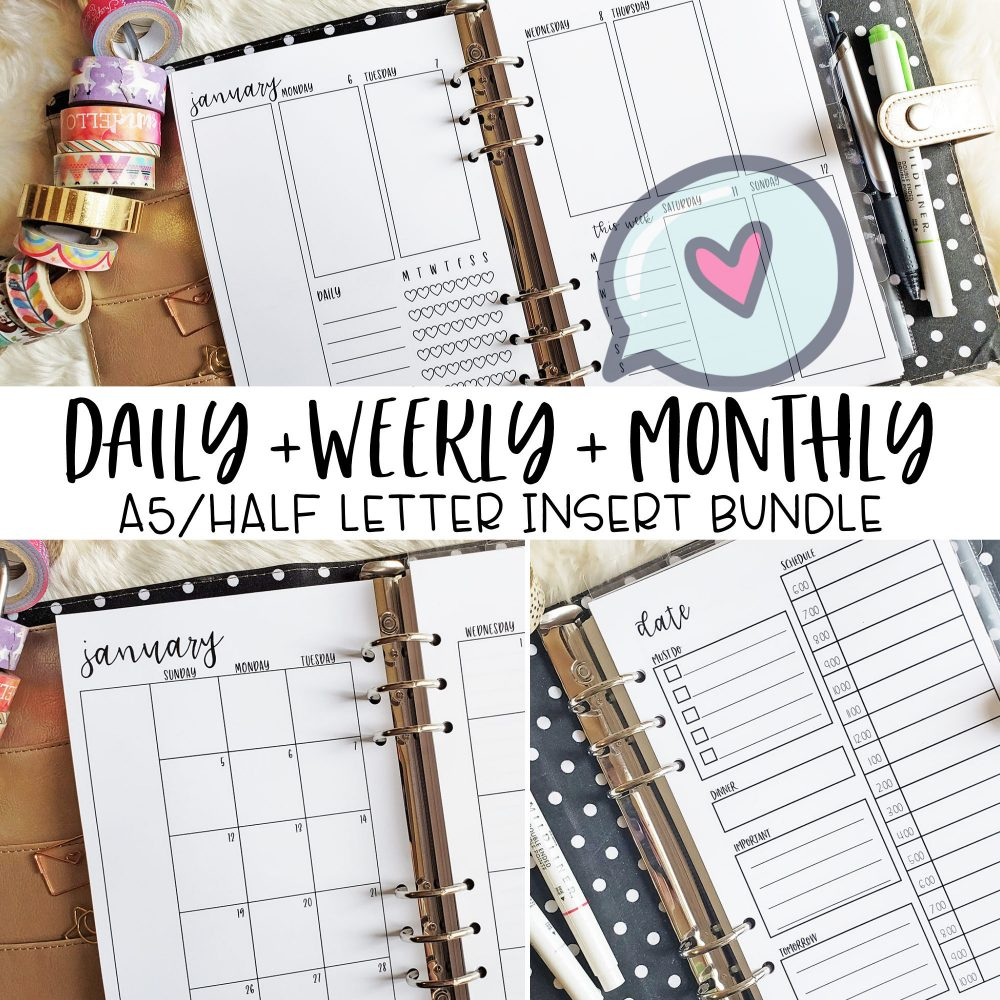 Printed A5 Inserts, Daily, Weekly, Monthly Insert Bundle, Planner Vertical With Checklist Weekly Layout