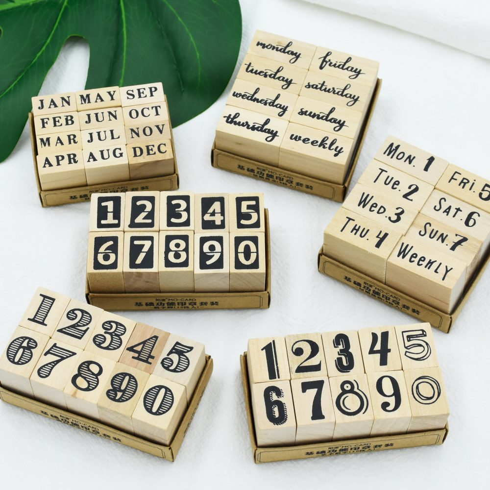 Journal, Wooden Stamps, Rubber Stamp, Planner Tracker Wooden Stamps, Numbers, Weeks, Months, Date Stamps, Calligraphy, Planner Journal