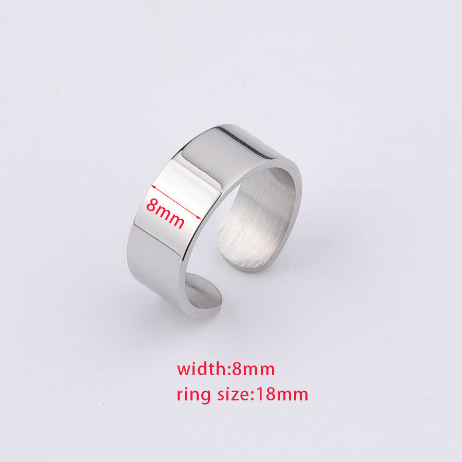 5Pcs 18mm Stainless Steel Ring Settings, Adjustable Blanks, Open , Can Be Lettering, Jewelry Finding, S31