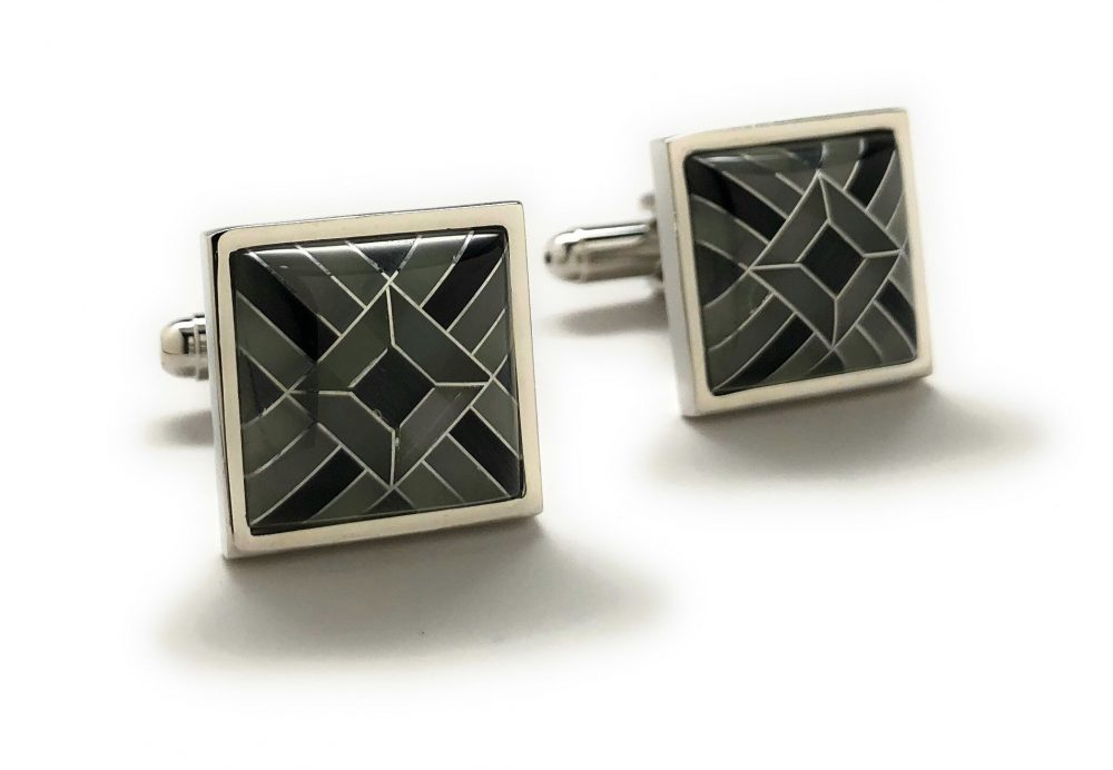Men's Cufflinks Shades Of Onyx Banded Design Silver Bands Special Cut Cuff Links Comes With Gift Box